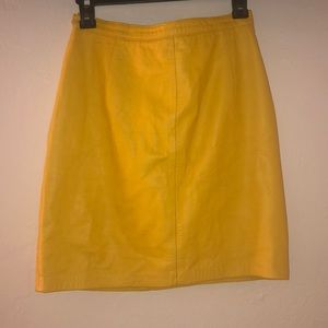Real Leather Yellow Skirt Size 10
